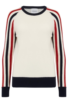 Madeleine Thompson Montodine Jumper in Cream, Navy and Red