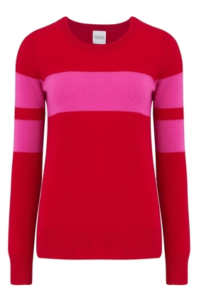 Madeleine Thompson Pompiano Bold Stripe Jumper in Red and Pink