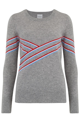 Madeleine Thompson Pavillo Jagged Stripe Jumper in Grey