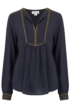 Velvet Grace Blouse in Navy