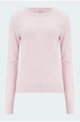 maddie cashmere crew in powder pink