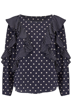 Rebecca Taylor Long Sleeve Dot Print Ruffle Top in Navy