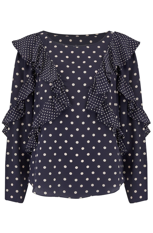 c28e36c62307 Rebecca Taylor Long Sleeve Dot Print Ruffle Top in Navy -