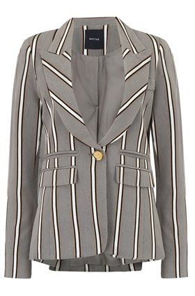 Smythe Peaked Lapel Blazer in Grey Ribbon Stripe