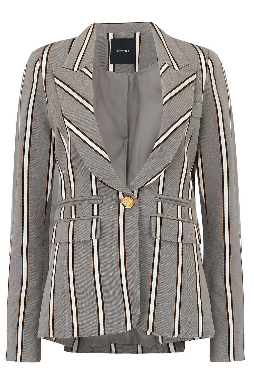 111faa78ef39 Smythe Peaked Lapel Blazer in Grey Ribbon Stripe -