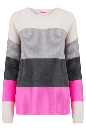 Bold Stripe Jumper in Snow, Grey, Ash and Candy