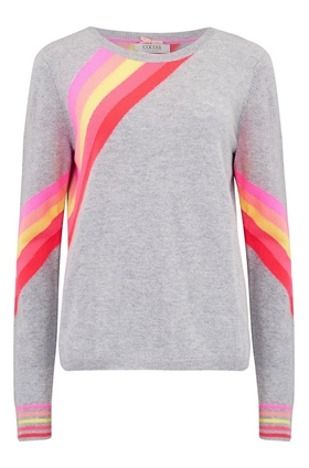 Flash Stripe Jumper in Grey