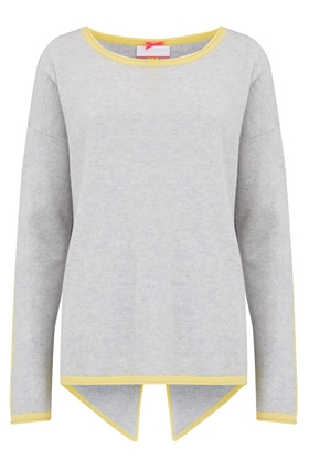 Split Back Hem Jumper in Cloud and Lemon