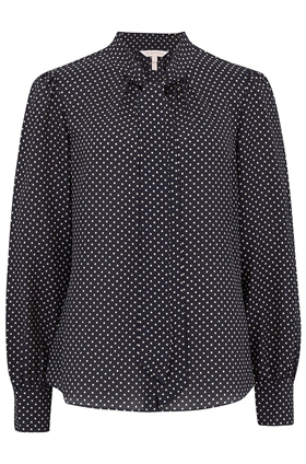 Rebecca Taylor Long Sleeve Dot Print Top in Navy