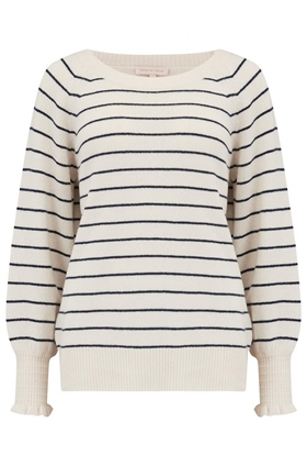 Rebecca Taylor Cosy Stripe Pullover in Cream