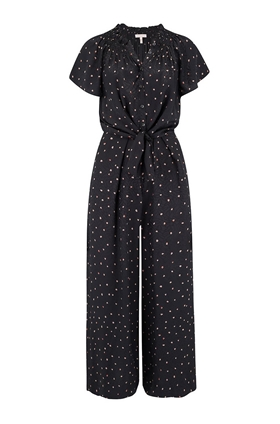 Rebecca Taylor Paint Dot Jumpsuit in Black Combo