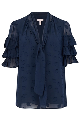Rebecca Taylor Tulip Clip Ruffle Top in Navy