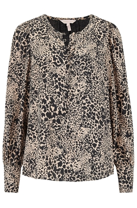 Rebecca Taylor Leopard Jacquard Top in Champagne Combo
