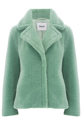 Marion Faux Shearling Jacket in Mint