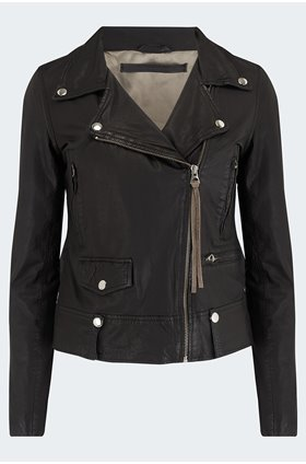 seattle thin leather biker jacket in black