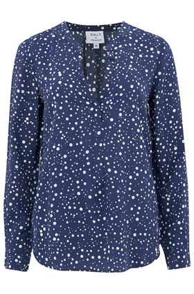 Trilogy Lucille Blouse in Navy Dots