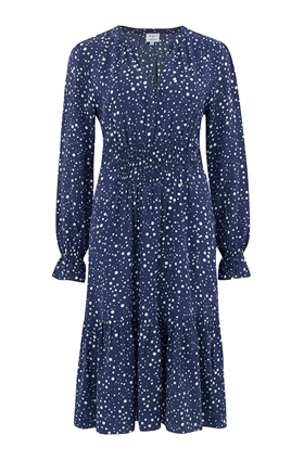 Trilogy Elise Dress in Navy Dots