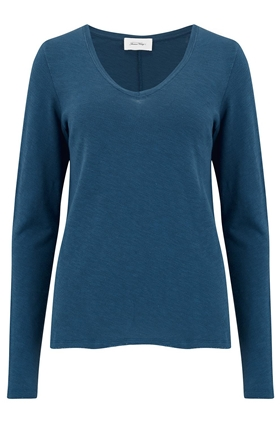 American Vintage Sonoma Long Sleeve T-Shirt in Mediterranean Blue