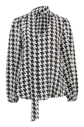Rixo Moss Blouse in Houndstooth