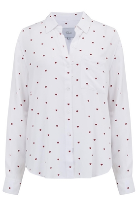 Rails Rocsi Shirt in White and Red Hearts
