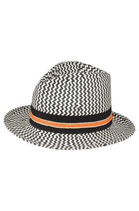 Helene Berman Zig Zag Trilby in Bianco and Nero
