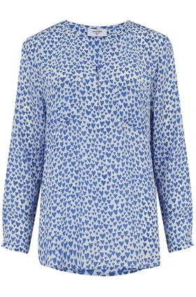Windsor Blouse in Bluebell Hearts