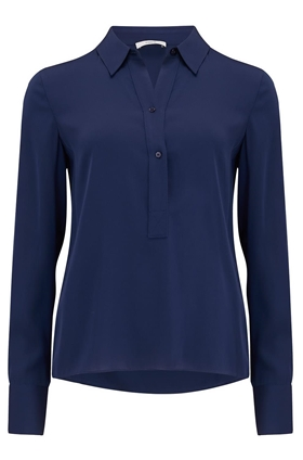 Vince Slim Fitted Popover Blouse in Hydra