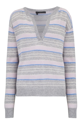 Rosa Polo Neck Jumper in Heather Grey Multi