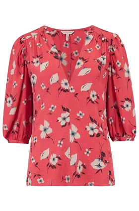 Rebecca Taylor Daniella Floral Top in Punch