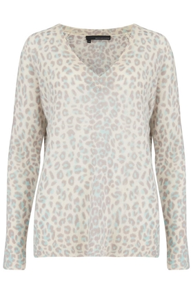 Sylvia V-Neck Jumper in Mint and Chalk