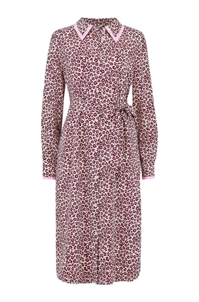 Essentiel Antwerp Sama Leopard Print Dress in Sangria