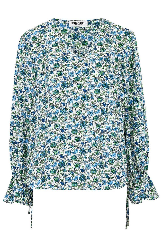 5d0b8d4f39740 Essentiel Antwerp Scarlett Floral Print Top in White -