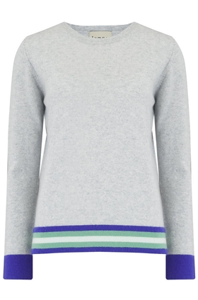 Multi Stripe Boxy Jumper in Grey and Jade