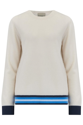 Multi Stripe Boxy Jumper in Cream and Sky Blue