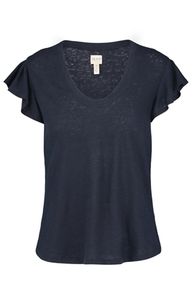 Rebecca Taylor La Vie  Washed Textured Jersey top in Navy