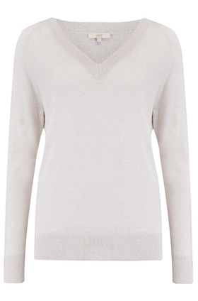 Elen V Neck Jumper in Cream