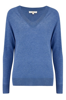 Elen V Neck Jumper in Denim Blue