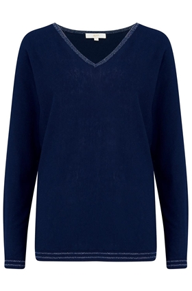 Abbott V Neck Jumper in Navy