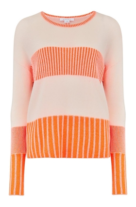 Duffy Box Pleated Stitch Rib Jumper in Pink and Cone