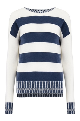 Duffy Stripe Boat Neck Jumper in Ivory and Marina