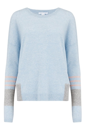Duffy Linen Cashmere Jumper in Indigo, White and Brume