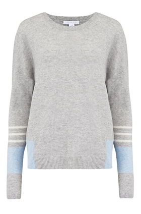 Duffy Linen Cashmere Jumper in Brume, Indigo and White