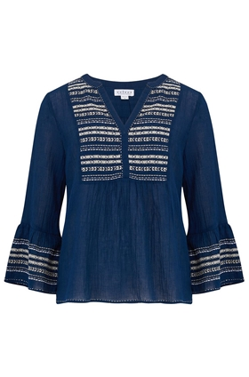 Zaley Embroidered Top in Navy