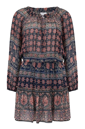 Beth Dress in Multi Moroccan Print