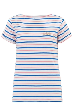 Maison Labiche Bubblegum Tee in Sailor Stripe