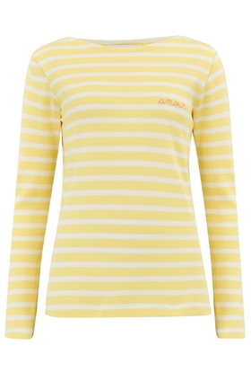 Amour Long Sleeve Sailor Stripe Tee in Yellow and White