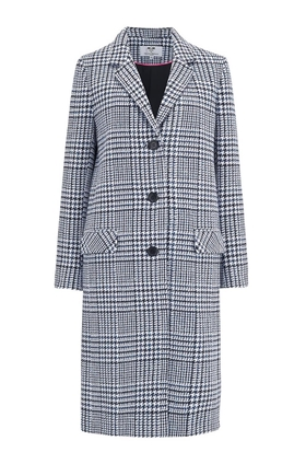 Helene Berman College Check Coat in Blue