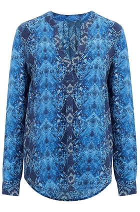 Trilogy Lucille Blouse in Blue Snake Print