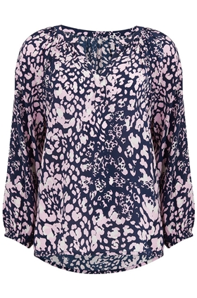 Trilogy Leonie Blouse in Navy Mixed Animal