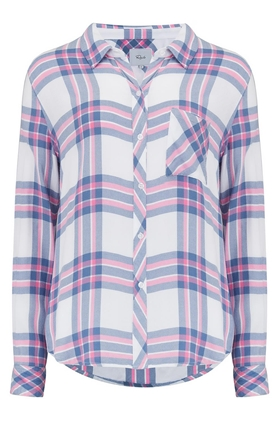 Rails Hunter Shirt in White, Sky and Pink